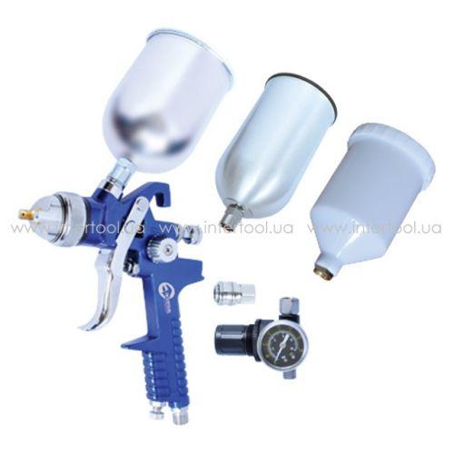 HVLP BLUE PROF KIT Краскораспылитель 1.7мм  с регулятором давления  тремя бачками (2-метал 800  600  PT-1506
