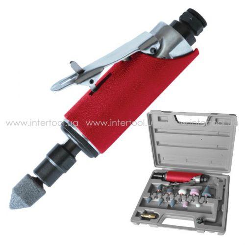 Шлифмашина пневматическая в чемодане 1/4 мини набор шлифовальных камней 10ед.  PT-1003