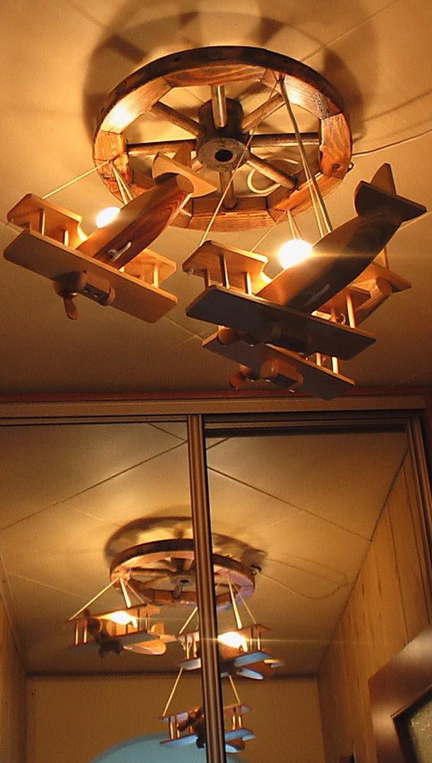 Люстры деревянные потолочные №1