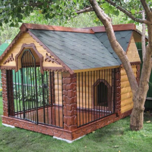 Будка-вольер для собаки из термодревесины
