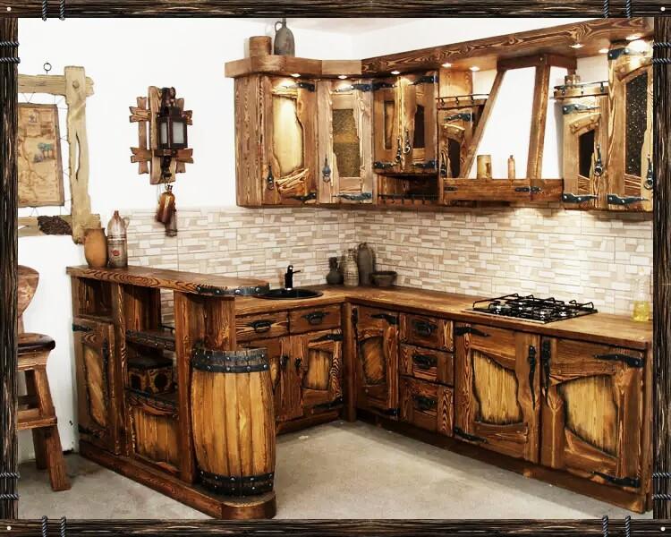Деревянные угловые кухни