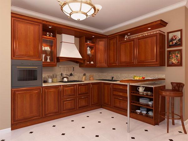 Деревянный кухонный гарнитур угловой для кухни